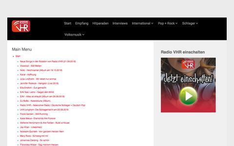 Screenshot of Site Map Page radio-vhr.de - Radio VHR - Schlager, Pop + Rock - captured Sept. 21, 2018