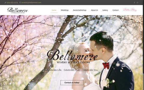 Screenshot of Home Page bellamere.com - Bellamere Winery, Event Centre & Wedding Venue - captured Jan. 21, 2017