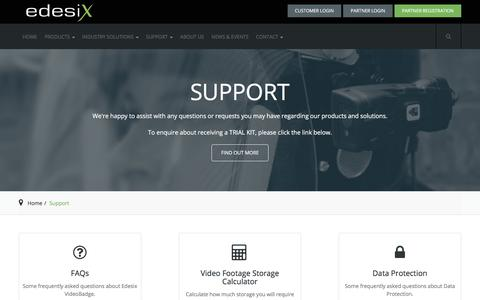 Screenshot of Support Page edesix.com - Edesix Ltd - Body Worn Video Cameras - Wearable Security - Support - captured June 21, 2018