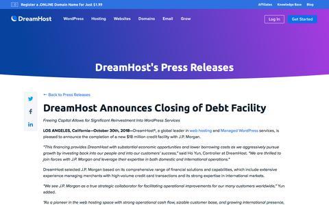 Screenshot of Press Page dreamhost.com - DreamHost Announces Closing of Debt Facility  – DreamHost - captured Feb. 21, 2020