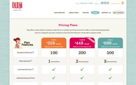 Screenshot of Pricing Page callruby.com - Remote Receptionists Plans & Pricing - Call Answering Services - Ruby Receptionists - captured Jan. 22, 2016