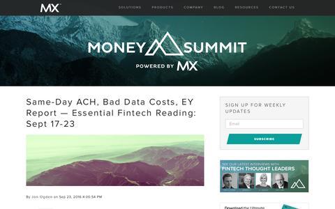 Screenshot of Blog mx.com - MoneySummit | Fintech News, Opinions, and Interviews - captured Sept. 24, 2016