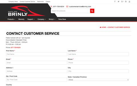 Screenshot of Contact Page brinly.com - Contact Customer Service | Brinly-Hardy Lawn and Garden Attachments - captured Oct. 6, 2018