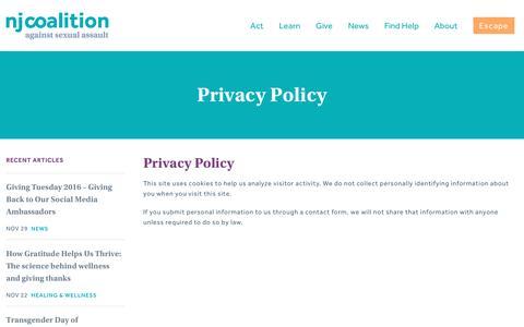 Screenshot of Privacy Page njcasa.org - Privacy Policy | NJCASA - captured Nov. 29, 2016