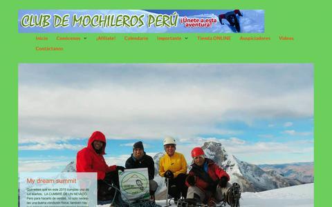 Screenshot of Home Page clubdemochilerosperu.com - Club de Mochileros Peru - ¡Unete a esta aventura! - captured Sept. 19, 2015