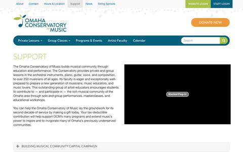 Screenshot of Support Page omahacm.org - Support | Omaha Conservatory of Music - captured June 21, 2016