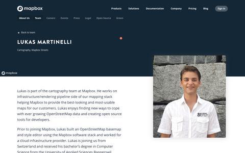 Screenshot of Team Page mapbox.com - Lukas Martinelli   Mapbox - captured Feb. 19, 2019