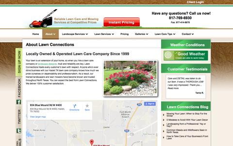 Screenshot of About Page lawnconnections.com - About Lawn Care Haslet TX-Landscaping Services-Patios-Stonework - captured Nov. 1, 2016