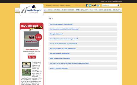 Screenshot of FAQ Page mycollegeu.com - FAQ   myCollegeU - captured Sept. 30, 2014