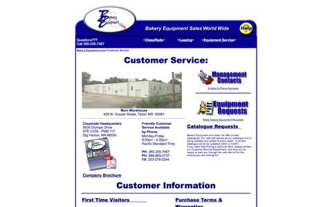 Screenshot of Support Page bakeryequipment.com - Bakery Equipment Customer Service - captured Jan. 19, 2016