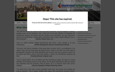 Screenshot of Testimonials Page bpa-kc.com - Business Performance Advisors - Testimonials - captured Oct. 13, 2018