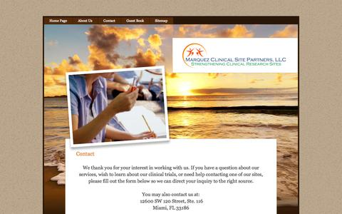 Screenshot of Contact Page clinicalsitepartners.com - Contact - captured Oct. 3, 2014