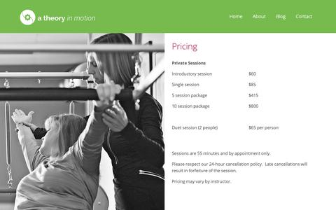 Screenshot of Pricing Page atheoryinmotion.com - Pilates Studio Pricing | A Theory in Motion Pilates Studio - captured Sept. 29, 2018