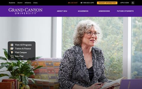 Screenshot of Home Page gcu.edu - Private Christian University | Grand Canyon University | GCU - captured April 24, 2017