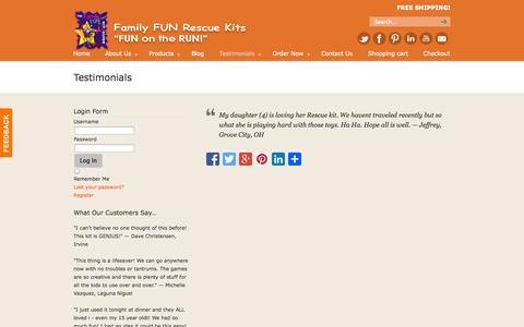Screenshot of Testimonials Page familyfunkits.com - Testimonials | Family Fun Kits for Kids! - captured Oct. 5, 2014