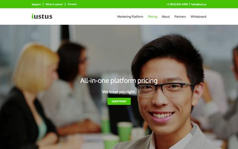 Screenshot of Pricing Page iust.us - Iustus | Marketing Platform Pricing - captured Oct. 6, 2014