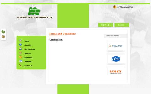 Screenshot of Terms Page mdl.co.in - Maiden distributors, pharmaceutical distributors delhi india, medicine wholesalers delhi india, carrying and forwarding agents delhi india - captured Feb. 4, 2016