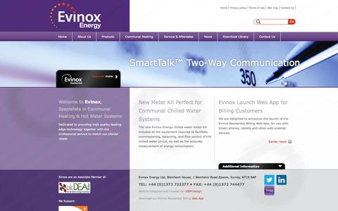 Screenshot of Home Page evinox.co.uk - Evinox specialise in the supply, maintenance and on-going management of heating and hot water systems for apartments and communal housing schemes. - captured Sept. 30, 2014