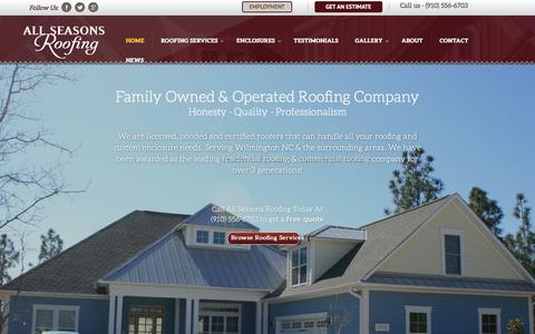 Screenshot of Home Page allseasonsroofinginc.com - All Seasons Roofing Inc. - Fully Insured North Carolina Roofing Company since 1964 - captured Dec. 24, 2015