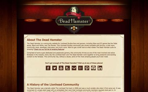 Screenshot of About Page thedeadhamster.com - History and Information About The Dead Hamster Community - captured Sept. 30, 2014