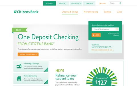 Screenshot of Home Page citizensbank.com - Personal Finance,  Secure Online Banking & Business Solutions | Citizens Bank - captured Sept. 18, 2014