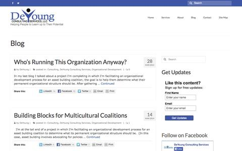 Screenshot of Blog deyoungconsultingservices.com - Blog - DeYoung Consulting Services, Minneapolis, Minnesota | Nationally Serving Nonprofits and Public Sector Clients - captured Oct. 5, 2014