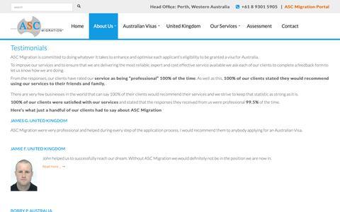 Screenshot of Testimonials Page ascmigrationvisas.com.au - ASC Migration Visas, client's testimonials, migrating to Australia. - ASC Migration - captured Oct. 2, 2018