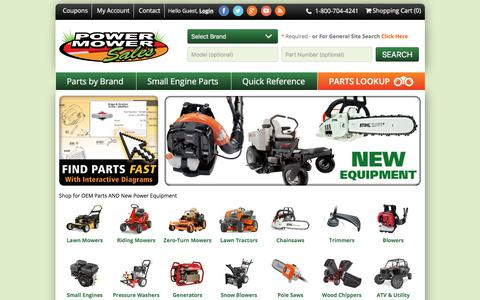 Screenshot of Home Page powermowersales.com - Power Mower Sales - Lawn Mower Parts, Accessories & Outdoor Power Equipment - captured July 20, 2018