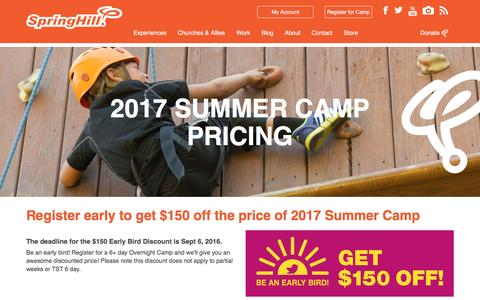 Screenshot of Pricing Page springhillcamps.com - 2017 Summer Camp Pricing - captured Aug. 16, 2016