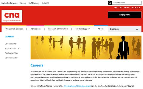Screenshot of Jobs Page cna.nl.ca - College of the North Atlantic - Careers - captured Sept. 22, 2018