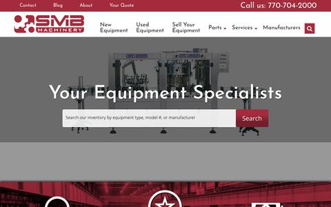 Screenshot of Home Page smbsales.com - Used Packaging Equipment   Used Process Equipment   SMB Machinery - captured Oct. 1, 2018