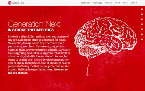 Screenshot of Home Page zocere.com - Zocere, Inc. | Generation Next in Stroke Therapeutics - captured Sept. 17, 2014
