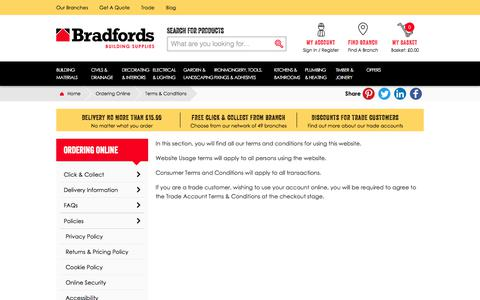 Screenshot of Terms Page bradfords.co.uk - Terms & Conditions - captured Oct. 22, 2017