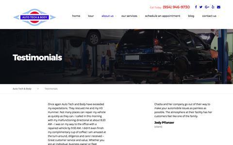 Screenshot of Testimonials Page autotechandbody.com - Testimonials | Auto Tech & Body | Car Repair Pompano Beach - captured Oct. 9, 2017