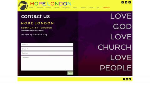 Screenshot of Contact Page hopelondon.org - hope london church † contact us - captured Oct. 30, 2018
