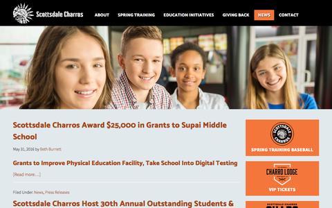 Screenshot of Press Page charros.com - News - captured Nov. 18, 2016
