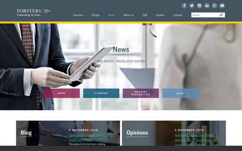 Screenshot of Press Page forsters.co.uk - News | Forsters LLP | Leading Mayfair law firm - captured Nov. 6, 2018