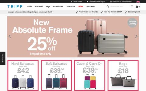 Screenshot of Home Page tripp.co.uk - Tripp Luggage | Suitcases, Cabin Cases and Travel Bags | Tripp Ltd - captured Sept. 23, 2018