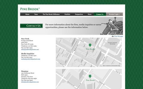 Screenshot of Contact Page pinebrookpartners.com - Contact Us | Pine Brook Partners - captured Oct. 2, 2014