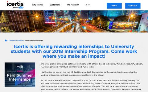 Screenshot of Jobs Page icertis.com - Icertis Internship Program - Contract Lifecycle Management - captured May 18, 2018