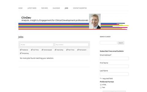 Screenshot of Jobs Page clindev.eu - Jobs | ClinDev - captured Oct. 3, 2014