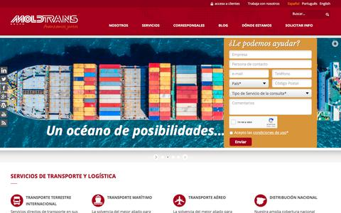 Screenshot of Home Page moldtrans.com - Empresa de Transporte Internacional y Logística | GRUPO MOLDTRANS - captured July 13, 2018