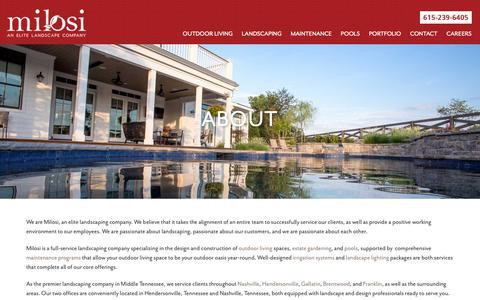 Screenshot of About Page milosilandscape.com - Landscaping Company   Outdoor Living & Landscape Maintenance   Milosi - captured Oct. 9, 2018