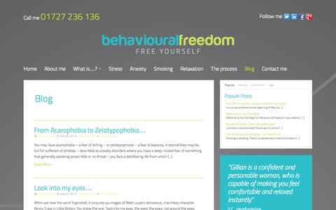 Screenshot of Blog behaviouralfreedom.co.uk - Blog - Behavioural Freedom - captured Sept. 30, 2014