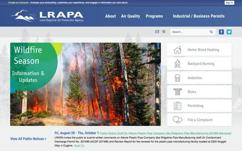 Screenshot of Home Page lrapa.org - Lane Regional Air Protection Agency, OR | Official Website - captured Sept. 22, 2015