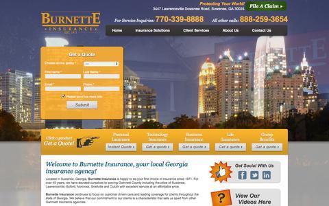 Screenshot of Home Page burnetteinsurance.com - Burnette Insurance | Georgia Insurance | GA Insurance - captured Jan. 24, 2015