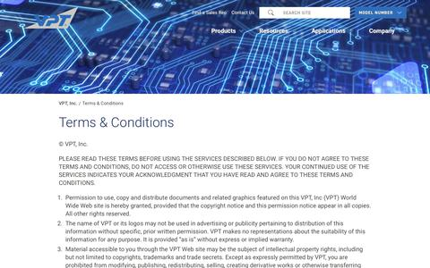 Screenshot of Terms Page vptpower.com - Terms & Conditions | VPT, Inc. - captured Nov. 15, 2018