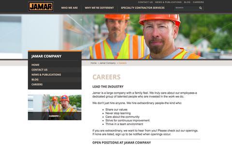 Screenshot of Jobs Page jamarcompany.com - Work for The Jamar Company | Job Postings - captured Oct. 22, 2017