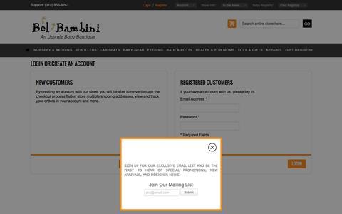 Screenshot of Login Page bel-bambini.com - Customer Login - captured Dec. 31, 2015