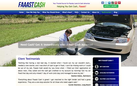 Screenshot of Testimonials Page faaastcash.com - Testimonials | Get Money Fast and Payday Loan in California - captured Sept. 30, 2014
